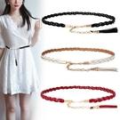 腰帶 簡約時尚百搭皮質腰女士韓國裝飾配洋裝子皮質細腰帶編織皮帶 尾牙