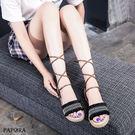 涼鞋.民族風綁綁綁羅馬平底涼鞋【K3749】黑 / 米