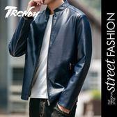 『潮段班』【HJ003083】M-4XL 3色可選 韓版百搭素面皮外套 皮夾克 夾克