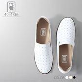 中大 女鞋簡約透氣縷空點點真皮休閒鞋平底鞋大 女靴40 43 碼172 巷鞋舖~NTL60