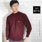 【大盤大】(N43-828) 半高領毛衣 100%純羊毛 口袋上衣 圓領發熱衣 暗紅 套頭 彈性 年節 保暖衣