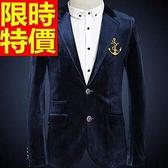 韓版 西裝外套 男西服 知性隨性-明星同款搖滾風熱銷金絲絨65b30[巴黎精品]