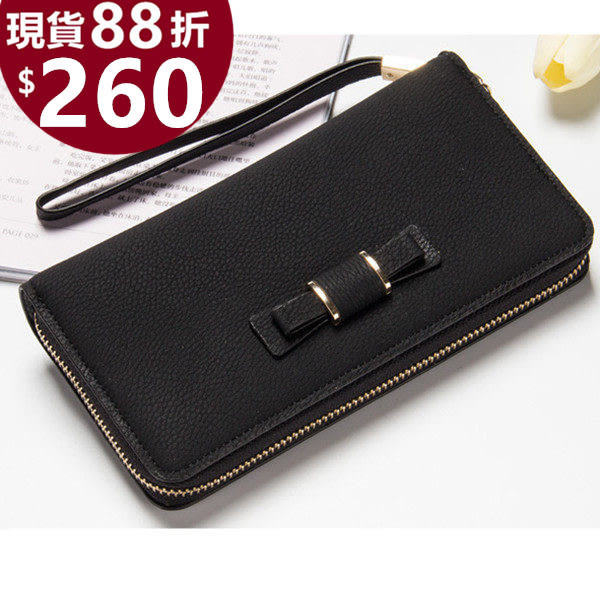 皮夾 優質大容量蝴蝶結流蘇拉鍊長夾 手機錢包 共7色 1389 寶來小舖【現貨販售】
