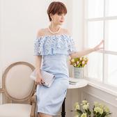 美之札[88193-S]中尺碼*清新織花蕾絲緹花料平口細肩帶兩穿腰身宴會洋裝
