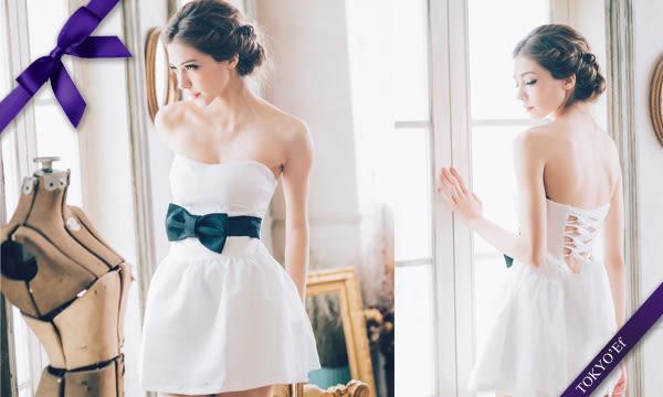 東京衣服 義大利風情款 小V 蝴蝶腰帶 背後綁帶澎裙小禮服-白色