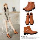 Ann'S側V短筒小惡魔短靴-棕...