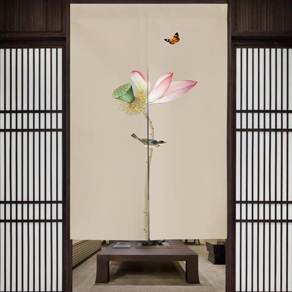 新中式複古禪意荷花布藝門簾 半簾 開運風水簾 尺寸可訂製 (寬65*高90cm)