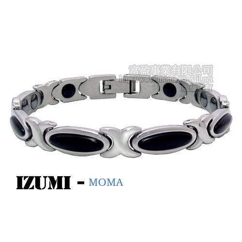 MOMA-【IZUMI】系列白鋼鍺磁手鍊-黑瑪瑙IS-005