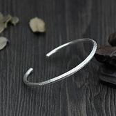 純銀手環(泰銀)-簡約開口生日情人節禮物女手鐲73gg5[時尚巴黎]