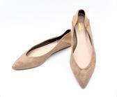 GLAZE 麂皮絨拼接皮革尖頭平底包鞋3色『杏色下標區』