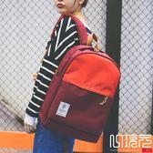 正韓潮後背包帆布校園生書包兩色實用背包一次元