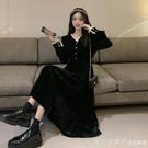 黑色宮廷風洋裝2021新款中長裙女裝春秋法式復古金絲絨裙子外穿 蘿莉新品