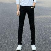 黑色彈力牛仔褲男士韓版修身薄款裝小腳褲潮男裝男褲子長褲    初語生活