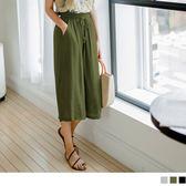 OB嚴選《BA3422-》質感純色抽腰綁帶設計細皺七分長寬褲.3色