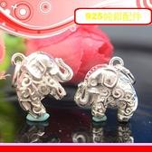 銀鏡DIY S925純銀配件/招福祥雲刻花紋幸運大象E(雙面版-勾花&簍空)~適合手作巴西蠟線/幸運衝浪繩