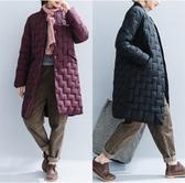 夾棉溫暖棉服女 秋冬新款復古純色中長款開衫加大休閒長袖面包服潮