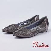 kadia.璀璨水鑽尖頭雕花牛皮包鞋(8522-85灰色)