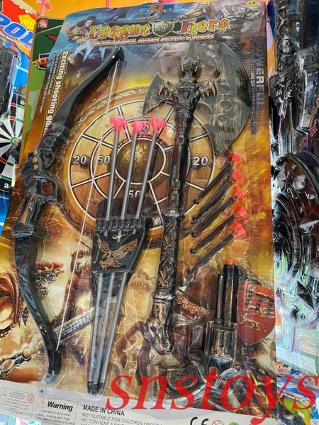 sns 古早味 懷舊童玩 弓箭組 弓箭 斧頭 吸盤槍 弓箭手組合 弓箭 長50cm