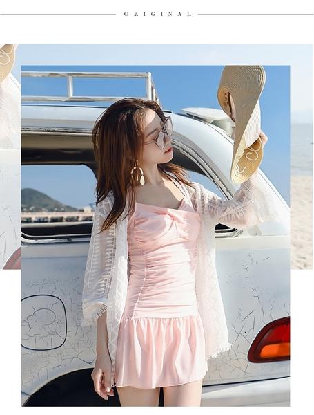 【現貨】梨卡 - 沙灘防曬長袖顯瘦蕾絲針織比基尼泳衣中長版寬鬆流蘇短袖罩衫薄外套C6455
