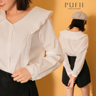 PUFII-襯衫 百搭款素面娃娃領長袖襯衫-1019 現+預 秋【CP21166】