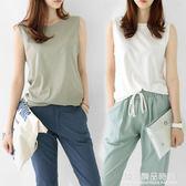 韓國夏裝圓領寬鬆無袖背心t恤女夏外穿純棉上衣中長款打底衫