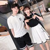情侶裝夏裝2019新款韓版寬鬆短袖T恤女氣質學院風裙套裝學生班服 ZJ4843【極致男人】