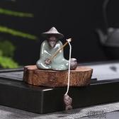 迷你茶寵小沙彌李白醉酒茶玩茶道配件人物造型姜太公釣魚擺件  街頭布衣