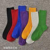 襪子女中筒襪韓版學院風長襪潮長筒薄款黑紅藍彩色韓國堆堆襪〖夢露時尚女裝〗