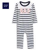 Gap男嬰兒 Logo印花條紋長袖一件式包屁衣 489552-光感亮白