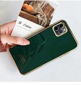 簡約電鍍IPhone 11pro手機套 個性蘋果11pro Max防摔手機殼 純色金邊iphone 11保護套