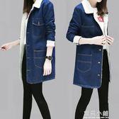 2019夏 裝韓版加絨寬鬆大碼羊羔毛中長款翻領加厚牛仔棉衣外套女 藍嵐