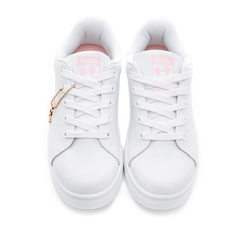 Disney 流行百搭 米奇吊飾厚底休閒鞋-白粉