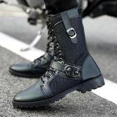 軍靴潮流韓版男士皮靴加絨棉鞋雪地工裝男靴 法布蕾輕時尚