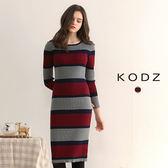 東京著衣【KODZ】歐美爆款顯瘦撞色針織設計洋裝-S.M.L(172604)