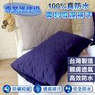100%防水鋪棉頭套-1入、吸濕排汗專利技術、信封式鋪棉枕套【藍/灰】台灣製造、TPU防水膜