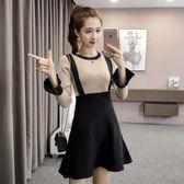 洋裝 新款韓版圓領喇叭袖針織連身裙女修身顯瘦氣質一步裙