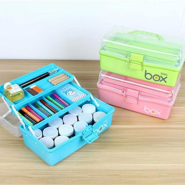 (交換禮物 創意)聖誕-工具箱 三層塑料手提式女孩美術工具箱大號兒童畫畫小學生水粉繪畫油畫箱RM