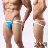 情趣用品-內褲 含滋潤液 VENUS 網紗條紋 男士雙丁 性感情趣 透明丁字褲 藍色 T-040