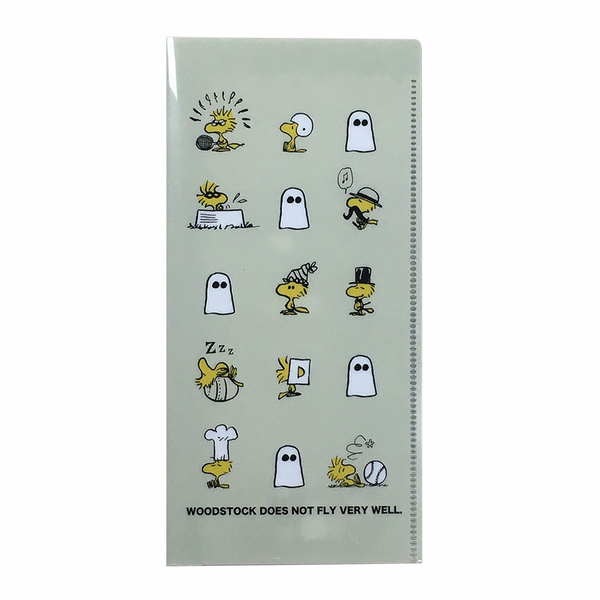 Marimo 日本製PP雙袋式折疊票券收納夾 SNOOPY 變裝胡士托 藍灰_FT13548