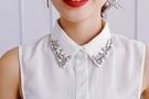 假領子假領片假衣領T恤雪紡紗寶石 大學T針織衫外套[E1352] 滿額送愛康衛生棉預購.朵曼堤洋行