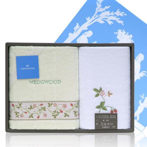 WEDGWOOD繽紛田園野莓毛巾方巾禮盒(粉綠)081533