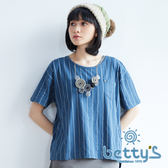 betty's貝蒂思 前口袋條紋兩件式T-shirt(藍色)