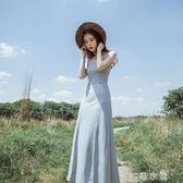 夏新款巴厘島性感繫帶V領露背開叉吊帶裙禮服長裙大擺連身裙     麥吉良品