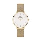 【台南 時代鐘錶 Daniel Wellington】DW00100348 Petite Evergold 32mm 淺金 DW 米蘭錶帶