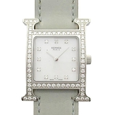 HERMES 愛馬仕 Heure H 鑽框淺藍皮革腕錶 Watch HH1.230 【二手名牌BRAND OFF】