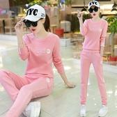 運動套裝休閒運動服套裝女春秋新款韓版時尚修身顯瘦印花連帽T恤兩件套潮 喵小姐