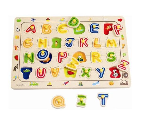 德國 Hape愛傑卡 ABC配對木拼圖
