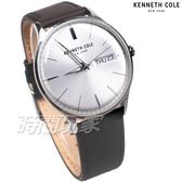 Kenneth Cole 型男必備 經典 日期 星期 立體凸型鏡面 男錶 白色 真皮錶帶 KC50589011
