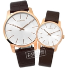 CK / K2G21629.K2G23620 / City 城市都會 瑞士製造 壓紋皮革手錶 情人對錶 銀x玫瑰金框x咖啡 43mm+31mm