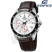 EDIFICE CASIO / EFV-540L-7A / 卡西歐簡約帥氣計時三環日期防水真皮手錶 銀黑x深棕 42mm